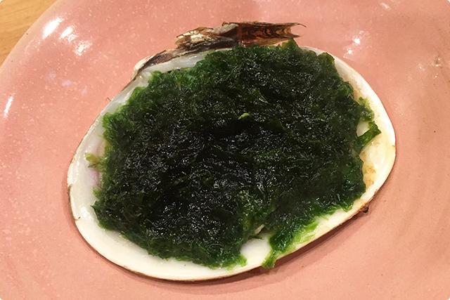まずは大アサリの生海苔かけ