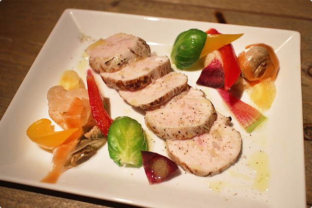 前菜の、岩手清流味わい鶏のジューシーハム