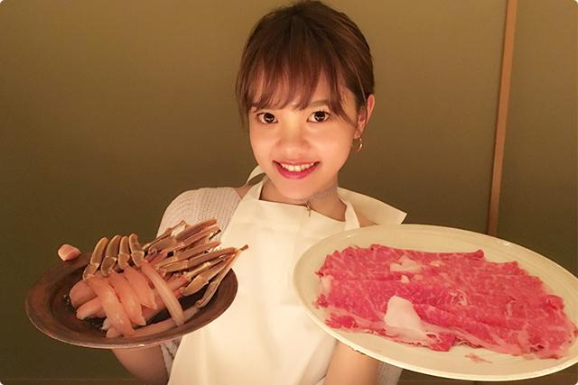 さっそく、お肉とカニがきた~!!!