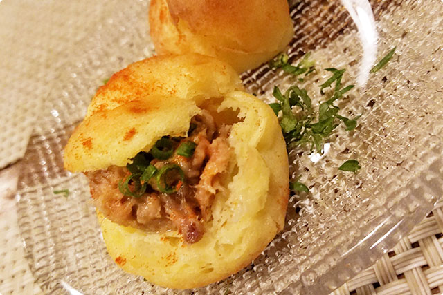 Chees rillette with meat and vegetables. It's small but rich and satisfying!