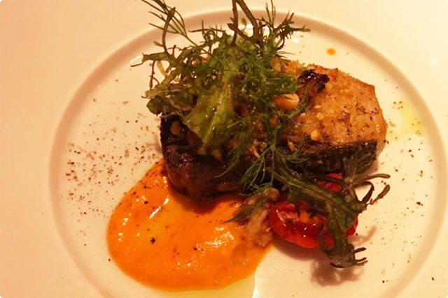 'Cold yellowtail grilled with herbs'