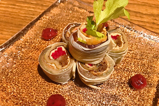 『BBqed Eggplant and seasonal vegetables rolled with Yuba 』(Yaki-nasu to Shun-yasai no Yuba maki)