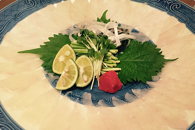 The first dish is Fugu Sashimi!